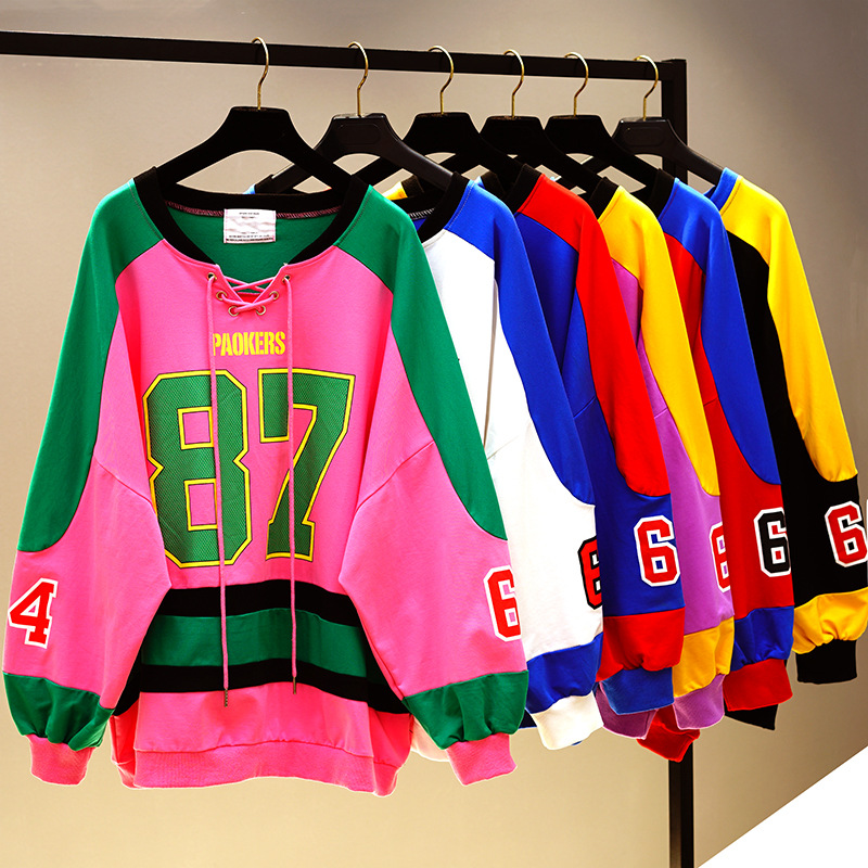 Female Sweatshirts New Spring Autumn All-match V Neck Women Pullovers Tops Letter Printing Loose Students Hoodies Casual Top