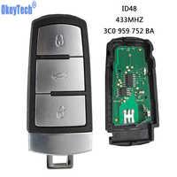 Control remoto de coche OkeyTech sin llave sin cortar con control remoto de coche inteligente 433MHZ con Chip ID48 3C0959752BA para VolksWagen Passat B6 3C B7 Magotan CC
