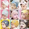 Детские capsKorean мальчик девочка мультфильм рукав хлопок головные уборы младенцев и маленьких детей теплый hat cap двойной шапочки
