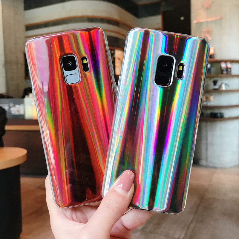 Galleria fotografica Luxury Cool Laser Shining Phone Case For Samsung Galaxy A3 A5 A7 J3 J5 J7 2016 2017 J4 J6 A6 A8 2018 S9 S8 Plus Protective Cover