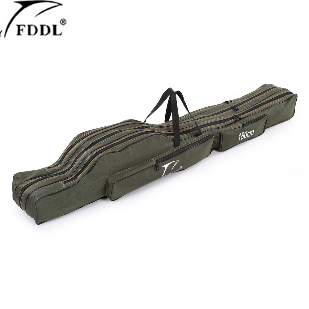 FDDL Portable  Multifunction Fishing Bag  Carrier Canvas 130/150CM Fishing Rod Bags  Two / Three Layer  Storage Case for Pescafishing rod bagrod bagfishing bag -