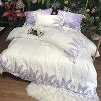 Светло фиолетовый 100 S из египетского хлопка роскошные белые романтические кружева Постельное белье queen King Размеры пододеяльник простыня на