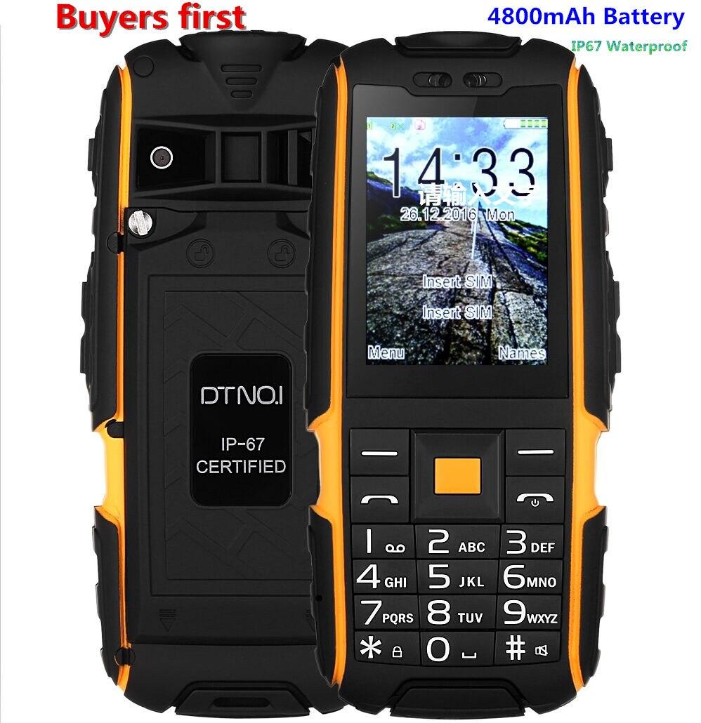 Original DTNO I A9 IP67 Waterproof shockproof Dual SIM mobile phone 4800mAh FM flashlight cell phone