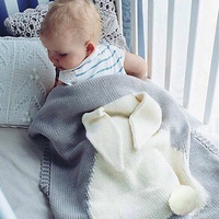Baby Cute Big Rabbit Ear Swaddling Blanket Soft Warm Knitted Swaddle Kids Bath Towel Baby Toddler
