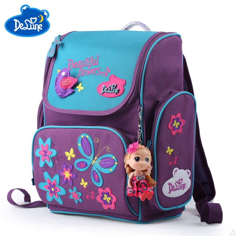 Delune Orthopedic Schoolbag Girl Backpacks for School Kids Rucksack Children Cartoon Bag Butterfly Bear Knapsack Mochila Escolar