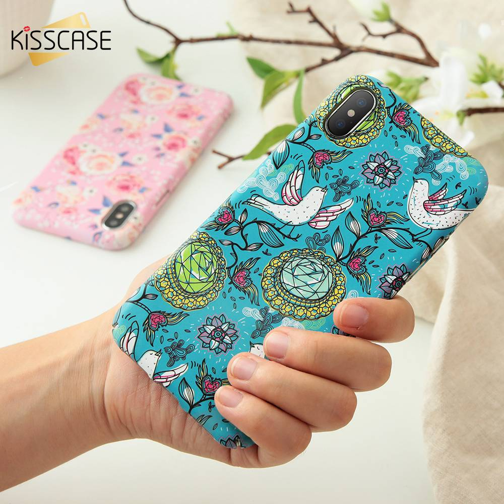 KISSCASE Fashion Case For iPhone X 3D Relief Accessories Bird Flower Hard Plastic Case For iPhone 8 7 6 6s Plus Cover Capa Funda