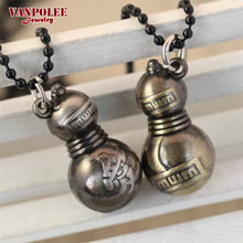 High Quality Anime Style Classic Naruto Gaara Anime Calabash Pendant Necklace Silver Plated Beads Chain Necklace Jewelry Gifts