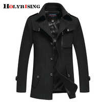 Holyrising Wool Blend Coat Men Casual Casaca Hombre Mens Overcoat Thick Jackets Warm Classic Cloth Man Fitted Coats 18259-5