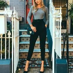Женщины шифон Высокая талия штаны-шаровары stringyselvedge летний Стиль повседневные штаны новые женские черные брюки W2