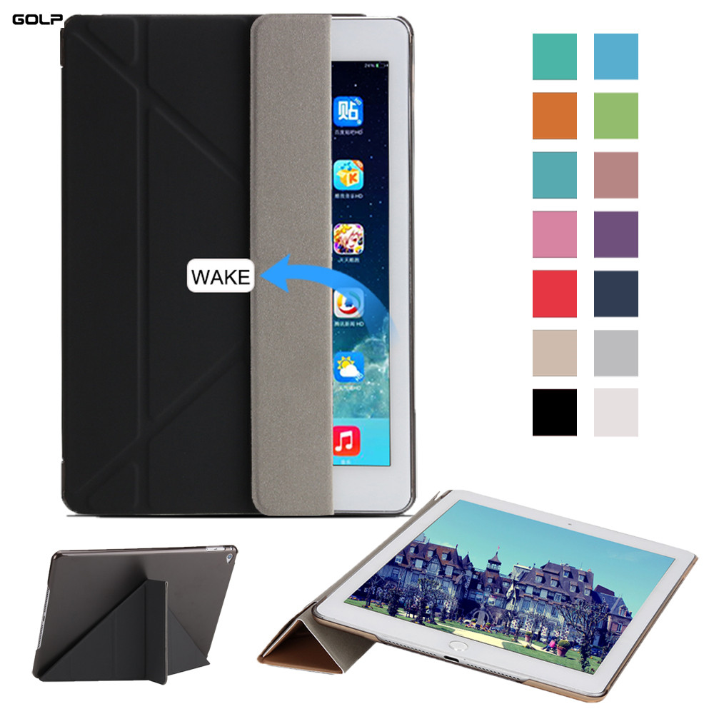 Case for iPad Air 2, GOLP Ultra Slim Light Weight Solid Color PU leather Cover Transparent PC Back Case for iPad Air 2 / iPad 6 case for ipad 2 3 4 golp ultra slim pu leather flip case cover soft tpu back magentic smart cover for ipad 2 3 4 a1430 a1460