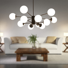 цена на JAXLONG Nordic Modern LED Chandelier Living Room Bedroom Lamp Lustres Indoor Home Decor Lights Glass Wrought Iron Study Dining