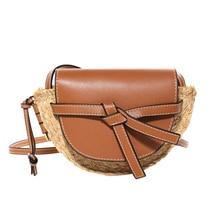 купить Genuine Leather Ladies Woven Knitting Messenger Crossbody Bags New Summer Bohemian Women Bowknot Straw Beach Shoulder Bag дешево