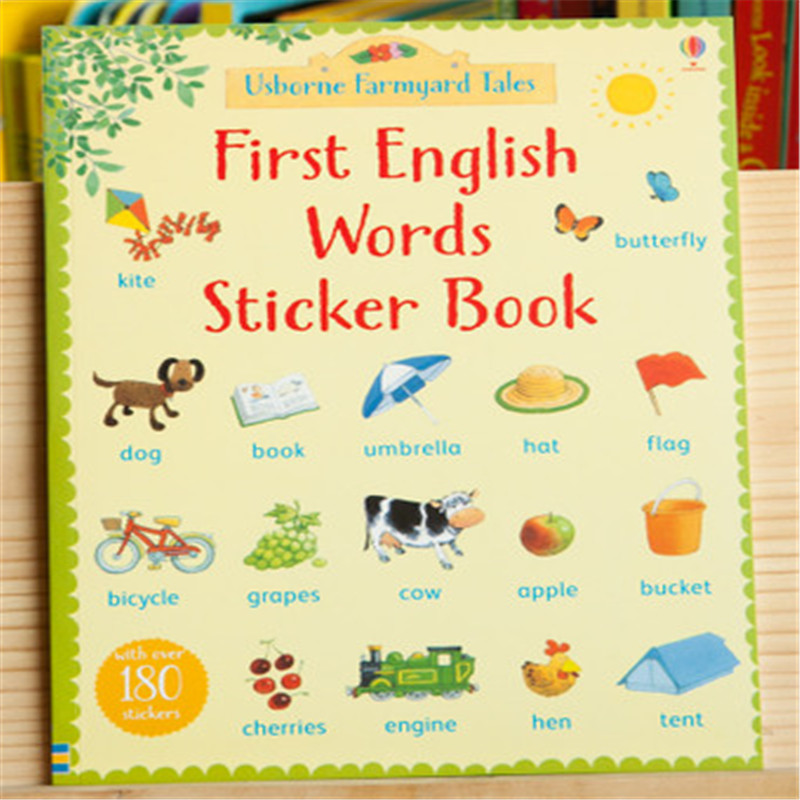 Free shipping Best Picture books for children famous story First English Words Sticker Book george s first day at playgroup sticker story book
