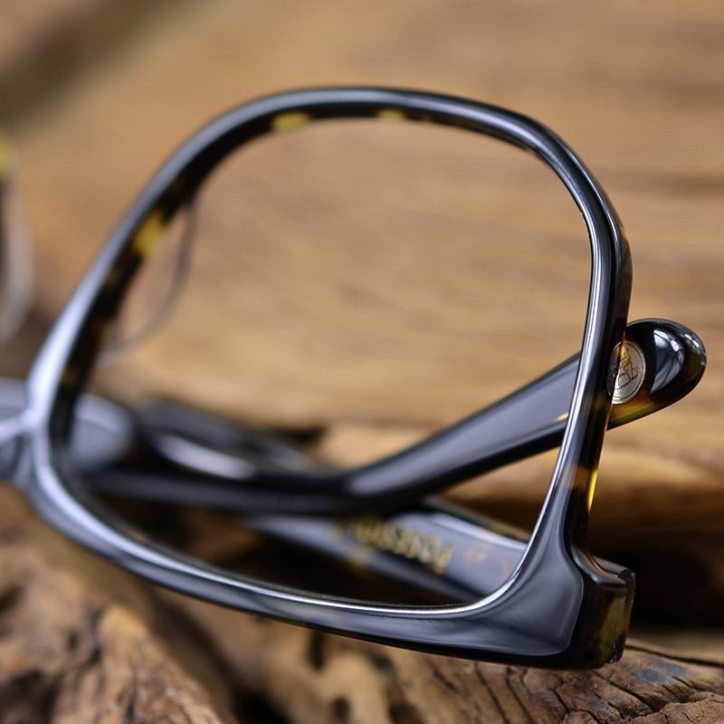 Image 5 - Posesion Square Acetata Large Men Eyeglasses Frames Vintage Wooden Big Face Women Myopic Optical Glasses Clear Lens Eyewear-in Men's Eyewear Frames from Apparel Accessories
