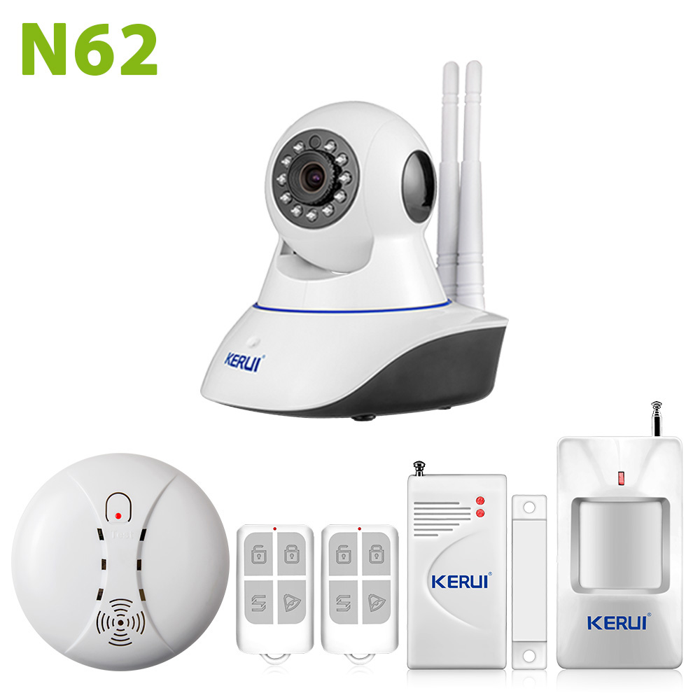 KERUI WiFi IP font b Camera b font Home Burglar Security smoke fire detector Alarm System