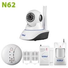 KERUI WiFi IP Cámara de Seguridad Antirrobo Casa Sistema de Alarma detector de fuego humo + IOS/Android app Control remoto red sistema de alarma