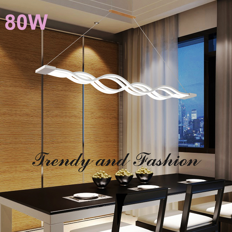 L100CM 120cm New Creative Modern LED Pendant Lights Wave Hanging Lamp Dining Room Living Room Pendant Light 110V 220V bried led aluminum acryl pendant light for office dining room ruler creative jane pendant light 110 220v 34 60 90 120cm 1759