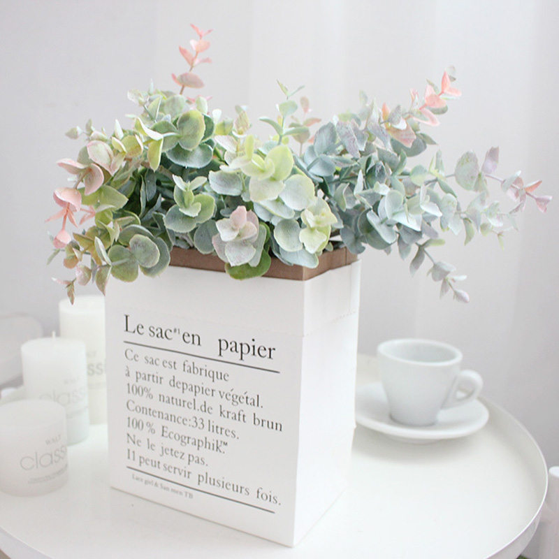Image 2 - FANTASY 13 heads False Eucalyptus Leaves Artificial Tree Branch Flower Bouquet Plastic Fake Leafs Faux Plant Flower Indoor Decor-in Artificial & Dried Flowers from Home & Garden