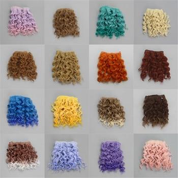 15 * 100 cm Parafuso Extensões de cabelo encaracolado para todas as bonecas DIY Perucas de cabelo Tramas de cabelo de fibra resistente ao calor 1