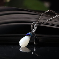 Original 100% 925 Sterling Silver HETIAN jade Pendant Necklace Lotus Pendant Necklace Jewelry Wedding Necklace for lady