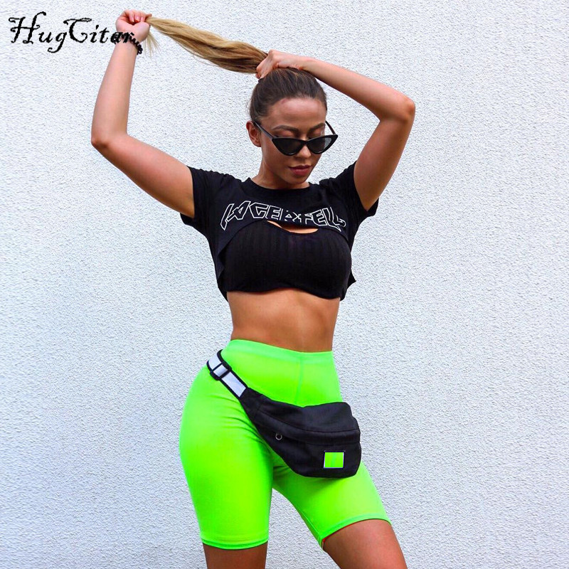 Hugcitar high waist elastic bodycon sexy solid biker   shorts   2018 autumn women fashion green balck solid biker   shorts