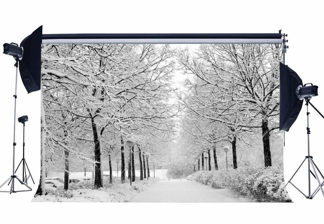Фон для фотосъемки Рождественская елка деревенский лес светофоры заснеженный Пейзаж Природа зима сцена Рождественский фон
