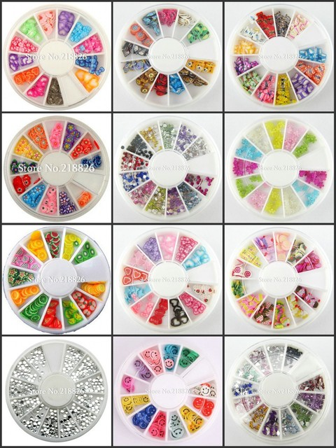 Big Promotion!12 Wheel Nail Art Decoration Nail Sticker DIY 3D Tip canes fimo rod  Polymer Clay