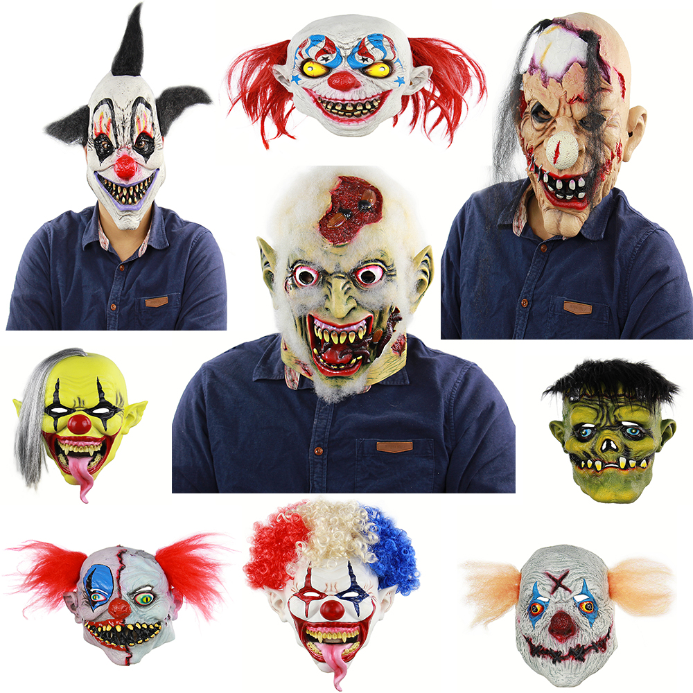Deluxe Clown Snake Tongue Evil Mask Halloween Latex Clown Mask With Hair for Adults Costume Party Props Masks Zombie Tongue