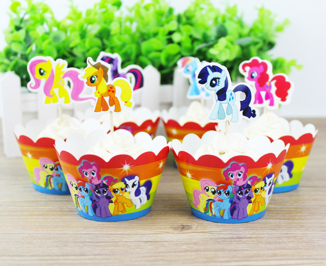 Free Shipping 24pcs My Little Pony Party Paper Cupcake Wrappers Toppers For Kids Birthday Decoration Cake Cups