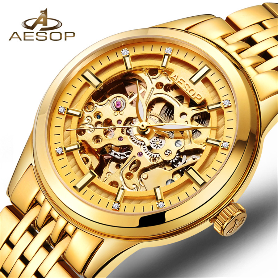 AESOP New Number Sport Design Bezel Golden Watch Mens Watches Top Brand Luxury Montre Homme Clock Men Automatic Skeleton Watch forsining 3d skeleton twisting design golden movement inside transparent case mens watches top brand luxury automatic watches
