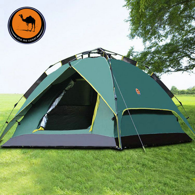 3-4 Person Quick Automatic Waterproof Double layer Pop-Up Umbrella Family Tent Outdoor Hiking Camping Tent 3 4 person outdoor camping tent double layer quick open install tent waterproof 230x210x140cm