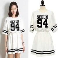 Kpop Exo New Summer Women Dress Clothing Exo K Pop Girls College Wind Short Sleeve Leisure
