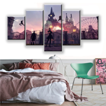 5 Pieces Game NieR Automata YoRHa And 9S Poster HD Print Wall Art Decor Modular Picture Canvas Amusement Park Fireworks Painting home decor living room 5 piece 2b back black shadow painting canvas hd print game nier automata poster wall art modular picture