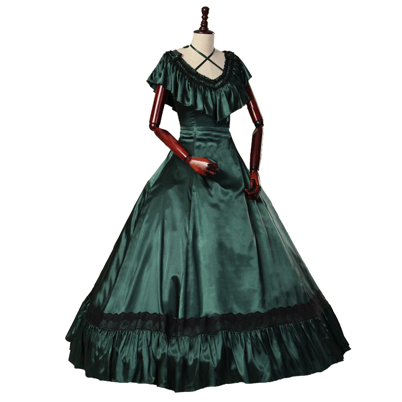 Free-Shipping Floor_lenght Solid Invisible Green Princess Ball Gown Bow Dress Pleated Clothes Renaissance Dress Customment