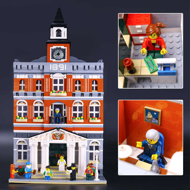 LEPIN Creators The town hall Model Building Mini figure Blocks Toys Kids Gift educational for children Compatible lepin 02012 city deepwater exploration vessel 60095 building blocks policeman toys children compatible with lego gift kid sets