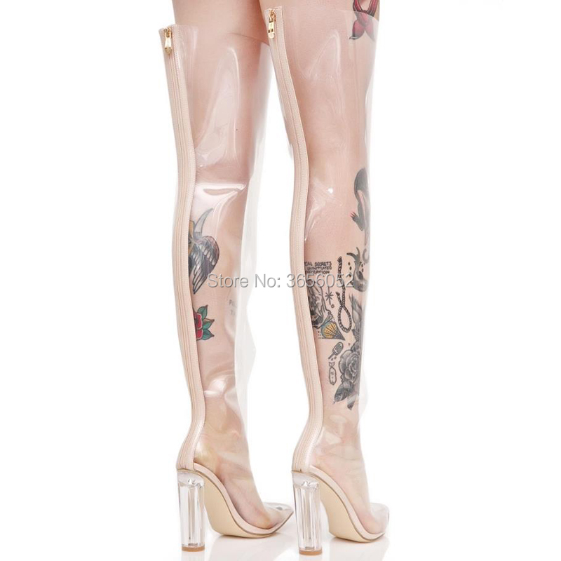 Botas Kardashian Zapatos Rodilla Verano Muslo Primavera Qianruiti As Sobre Botines Cristal Tacón Kim Celebrity La Claro Pic Alta Transparente Pvc z4tTqnSX