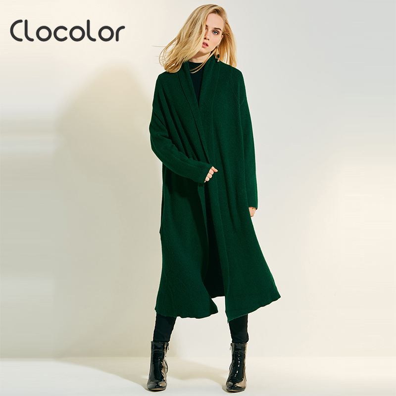 Clocolor causal knitting long cardigan woman elegent sweater female poncho plain knitted jumper Autumn woman outwear cardigan
