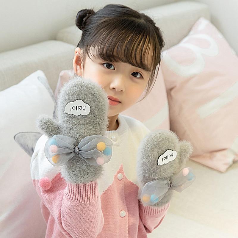 Lovely 4-8 Years Old Children Winter Warm Cartoon Villain Knit Rabbit Hair Mittens Boy/Girls Fur Wool Knit Kids Soft Gloves B17