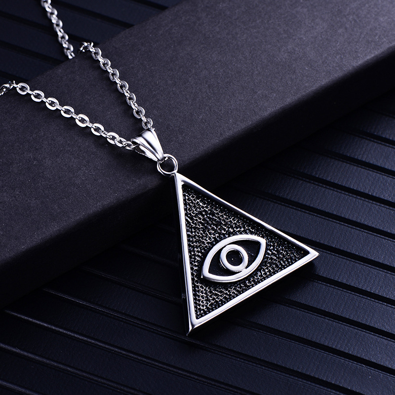Creative triangle evil eye pendant necklace stainless steel casting men's pendant necklace jewelry Christmas gift