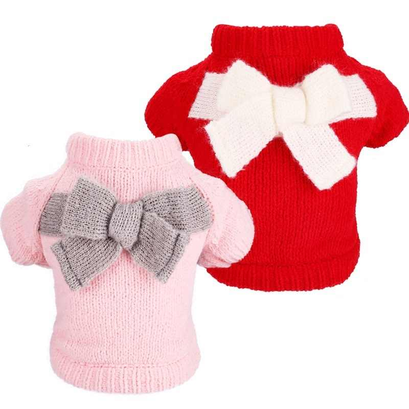 Свитер для собаки для кошки осень бабочка лук Pet свитер для кота одежда для маленьких собак Sweatershirt Kintwear джемпер для собаки XS S M L XL