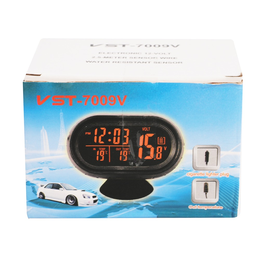 Car Auto Voltmeter Thermometer Electronic Alarm Clock 12v Digital Voltmeters Lcd Green Orange Led Light Display Volt Meter Gauge Universal In Meters From