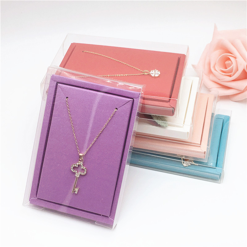 12Pcs Clear Pvc Necklace Displays Boxes Transparent Waterproof Plastic Jewelry Gift Boxes Earring Pendant Packing Boxes 12*8*2cm