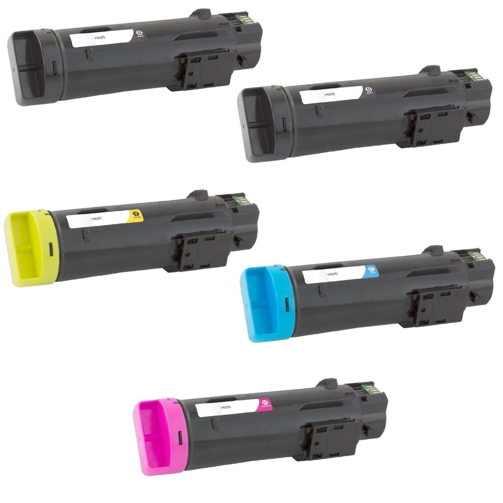 5 Pack Toner Cartridge Compatible for Dell H625cdw H825cdw S2825cdn, Black 3000 pages, Cyan/Magenta/Yellow 2500 pages