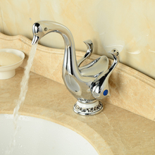 Cute Duck Shape Double Handles Waterfall Bathroom Basin Sink Faucet Deck Mount Brass Vanity Sink Mixer