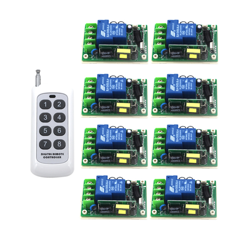 Free Shipping Wide voltage 85-250V 30A RF Wireless Remote Control Switch 8 Receiver and 1 Controller System 4130 free shipping best price wide range voltage 85v 250v 30a 1ch rf wireless remote control system 1 remote