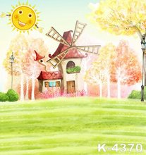 Children Cartoon Photography Backgrounds 1.5x2m Printed Backdrops Muslin Fabric Old House Sun With Smile Spring Photo Background