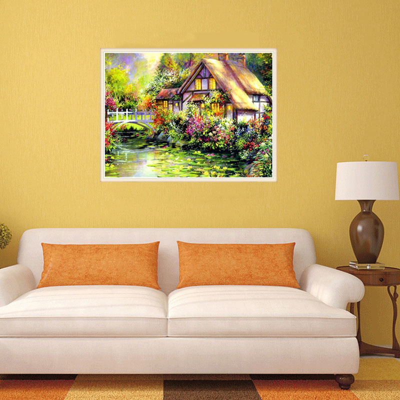 DIY Full Diamond Painting Cross Stitch Stream Scenic Villa Garden ...