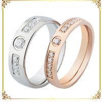 Stainless steel cubic zirconia double color lovers rings