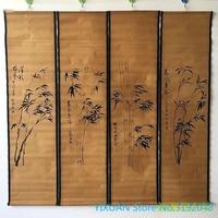 Antique living room, paintings, murals, four screens, decorative paintings, Qing Dynasty painter Zheng Banqiao Mo Zhu.