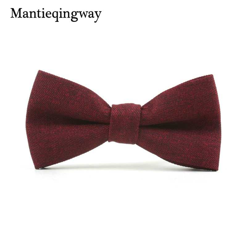 d154f071c8c2 Wine Red Men's Formal Business Suits Bowtie for Men Solid Color Skinny Bow  Tie Gravatas Slim